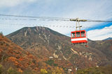 Nikko cable car taking to the top of mountain to view the waterfall Royalty Free Stock Photography