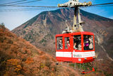 Nikko cable car taking to the top of mountain to view the waterfall Stock Image