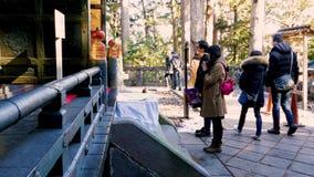 NIKKO, JAPÓN - 2 DE FEBRERO DE 2019: Devotos en la capilla interna del okumiya de la capilla de Toshogu La capilla es última mora metrajes
