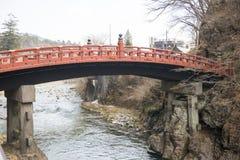 NIKKO, JAPAN - FEBRUARI 22, 2016: Rode brug Shinkyo in Japan Stock Fotografie