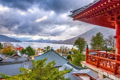 Nikko, Japan viewed  from Chuzen-ji Temple. Nikko, Japan viewed in the autumn from Chuzen-ji Temple complex Royalty Free Stock Image