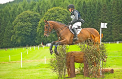 Niklas Bschorer jumps the deer at Blair. Niklas Bschorer riding Ballyengland Rebel in the cross country competition  for Germany jumps the deer at Blair Royalty Free Stock Photos