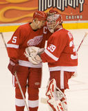 Niklas Lidstrom Congratulates Dominic Hasek stock photography