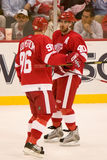 Niklas Lidstrom and Henrik Zetterberg Talk It Over Stock Photos