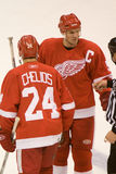 Niklas Lidstrom Talks To The Ref Stock Image