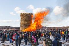 Nikola-Lenivets - March 9, 2019: Pancake week. Burning of the fortress of the Bastille stock image