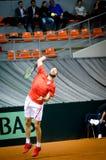 Nikola Milojevic portion i matchen mot USA, Davis Cup 2018, Nis, Serbien Arkivfoto