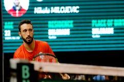 Nikola Milojevic som spelar i matchen mot SERBIEN, Davis Cup 2018, Nis, Royaltyfri Bild
