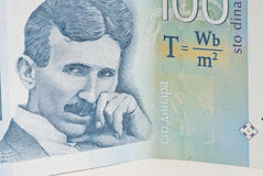 Nikola Tesla on Hundred Dinars, Serbian Money stock images