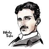Nikola Tesla portret royalty ilustracja