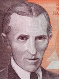 Nikola Tesla portret na Jugosławia 1000 dinars1990 c banknocie Obraz Stock
