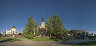 Cathedral Church in Nikolaev, Ukraine. Nikolaev, Ukraine - 10.06.2018. Cathedral of the Kasperovsky Icon of the Mother of God in Nikolaev royalty free stock images