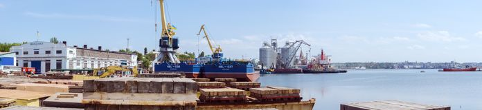 Nikolaev, Ukraine. View of the seaport from the shipyard. Nikolaev, Ukraine - May 23 2018: View of the seaport from the shipyard Nibulon stock images