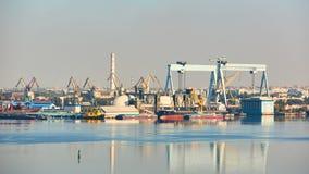 Nikolaev, Ukraine - September 30, 2016: Industrial areas of the shipbuilding yard. Stock Image