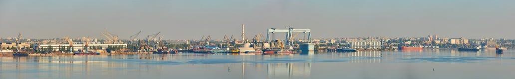 Nikolaev, Ukraine - September 30, 2016: Industrial areas of the shipbuilding yard. Stock Photo