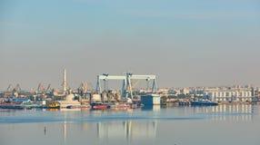 Nikolaev, Ukraine - September 30, 2016: Industrial areas of the shipbuilding yard. Stock Photos