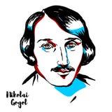 Nikolai Gogol Portrait stock illustration