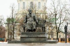 Nikolai Leskov monument in winter in Orel, Russia Stock Image