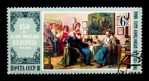 Nikolai Nevrev: The Bargain, Painters Birth Anniversaries serie,. MOSCOW, RUSSIA - MARCH 29, 2018: A stamp printed in USSR (Russia) shows Nikolai Nevrev: The Royalty Free Stock Photography