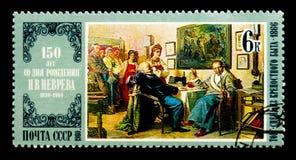 Nikolai Nevrev: The Bargain, Painters Birth Anniversaries serie,. MOSCOW, RUSSIA - NOVEMBER 26, 2017: A stamp printed in USSR (Russia) shows Nikolai Nevrev: The Royalty Free Stock Photo