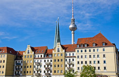 Nikolaiviertel and TV-tower in Berlin Stock Image