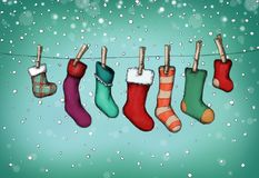 Nikolaus stockings hanging on the clothes line. Illustration of Nikolaus stockings hanging on the clothes line Stock Photos