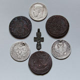 Nikolay II. Coins of a dynasty of tsars Romanov of 18-20 centuries Stock Photography