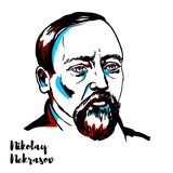 Nikolay Nekrasov Portrait stock illustratie