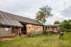 NIKOLO-LENIVETS,俄罗斯- 9月 2015年:木制品和纪念品 免版税图库摄影