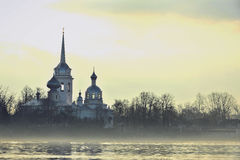 Nikolo Medvedsky Monastery in foggy Early morning. Stock Photos