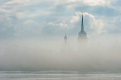 Nikolo Medvedsky Monastery in New Ladoga in foggy spring sunrise . Royalty Free Stock Photos