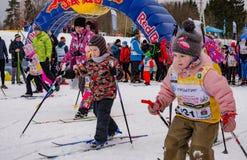 Nikolov Perevoz Russialoppet maratonu dzieci ` s 2017 narciarska rasa Obraz Stock