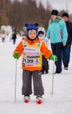 Nikolov Perevoz Russialoppet maratonu dzieci ` s 2017 narciarska rasa Zdjęcia Stock