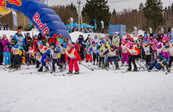 Nikolov Perevoz 2017 Russialoppet ski marathon children`s race Royalty Free Stock Photography