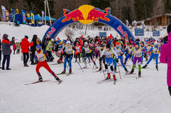 Nikolov Perevoz 2017 Russialoppet ski marathon children`s race Royalty Free Stock Photos