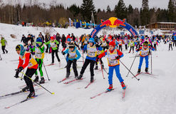 Nikolov Perevoz 2017 Russialoppet ski marathon children`s race Stock Photography