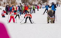 Nikolov Perevoz 2017 Russialoppet ski marathon children`s race Royalty Free Stock Photo