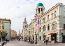 Nikolskaya街道看法在莫斯科,俄罗斯 库存照片
