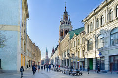 Nikolskaya street, Cathedral  and Kremlin tower in Moscow Royalty Free Stock Photography