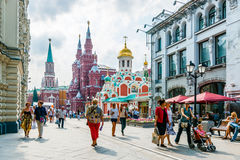 Nikolskaya street of Moscow stock images
