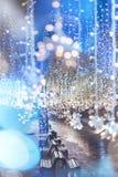 Nikolskaya street Moscow, Russia. Glowing garland. Christmas and Royalty Free Stock Photo