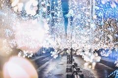 Nikolskaya street, Moscow, Russia. Glowing garland. Christmas an Stock Images
