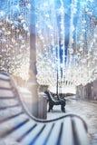 Nikolskaya street, Moscow, Russia. Glowing garland decoration. C Stock Images