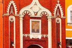 Nikolskaya torn av Kreml med symbolen Arkivbild