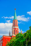 Nikolskaya Tower of Kremlin in Moscow Stock Photos