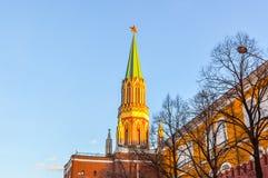 The Nikolskaya Tower in Moscow Royalty Free Stock Photos
