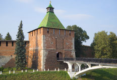 The Nikolskaya tower of Nizhny Novgorod Kremlin on a day in August Royalty Free Stock Photo
