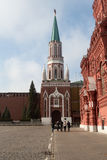Nikolskaya tower on the Red Square in Moscow Stock Photo