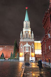 Nikolskaya Tower on Red Square, Moscow, by night. Stock Photography