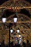 Nikolskayastraat in de lichten Stock Foto
